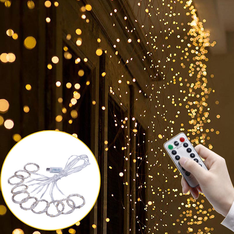 3x3m 300LED Curtain Lamp Copper Wire Fairy String Light Wedding Party Decor
