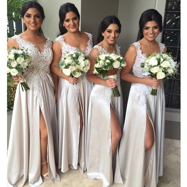 Free shipping 2018 new hot Big Discount Straps Cheap Long Party   Dress   With Appliques Split Front Silver Grey   Bridesmaid     Dresses