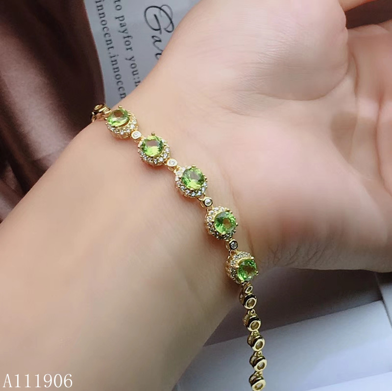 KJJEAXCMY boutique jewelry 925 sterling silver inlaid natural peridot women's bracelet support test