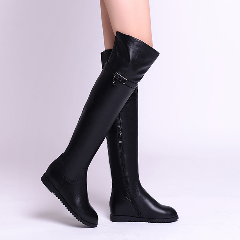 Height Increasing Strap Pendant Design Stylish Long Boots For Women 2018 Latest Sexy Lady Shoes Natural Leather Female Heel Boot stylish cowl neck long sleeves color match batwing irregular design cotton blend sweater for women