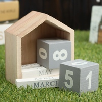 Kicute Vintage Design House Shape Perpetual Calendar Wood Desk Wooden Block Home Office Supplies Decoration Artcraft