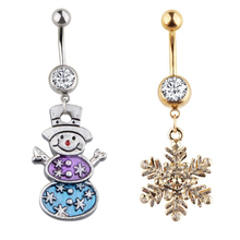 Фотография Christmas Navel Ring Belly Button Snowman Snowflake Pendant Piercing Jewelry