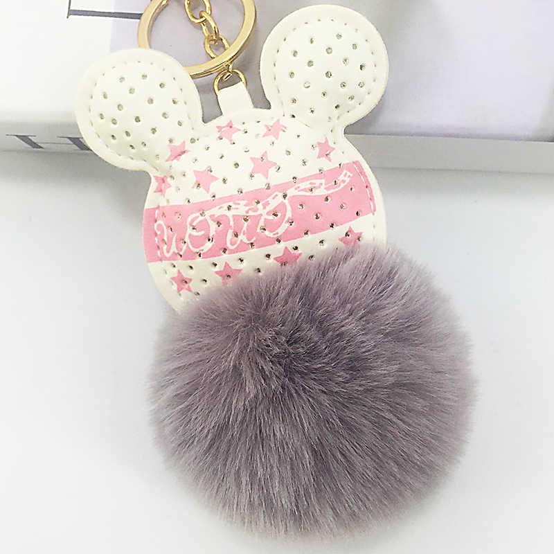 PU couro artificial animal rato chave bola de pêlo cadeia pingente senhoras saco chave do carro pendurar acessórios presentes criativos