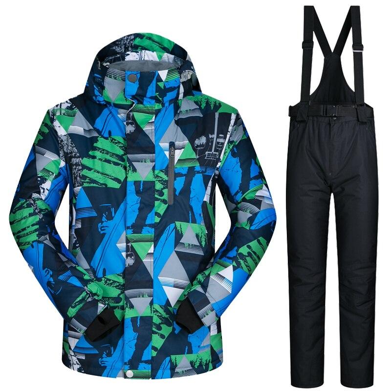 2019 combinaison de Ski pour hommes veste et pantalon de Ski imperméable neige Snowboard épaissir vêtements chauds Ski et Snowboard costumes marques