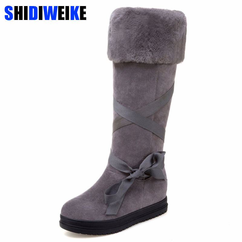 2019 Fashion Riband Snow Boots For Women Bootlace Suede Leather Plush Fur Lined Girls Winter Shoes Waterproof N040
