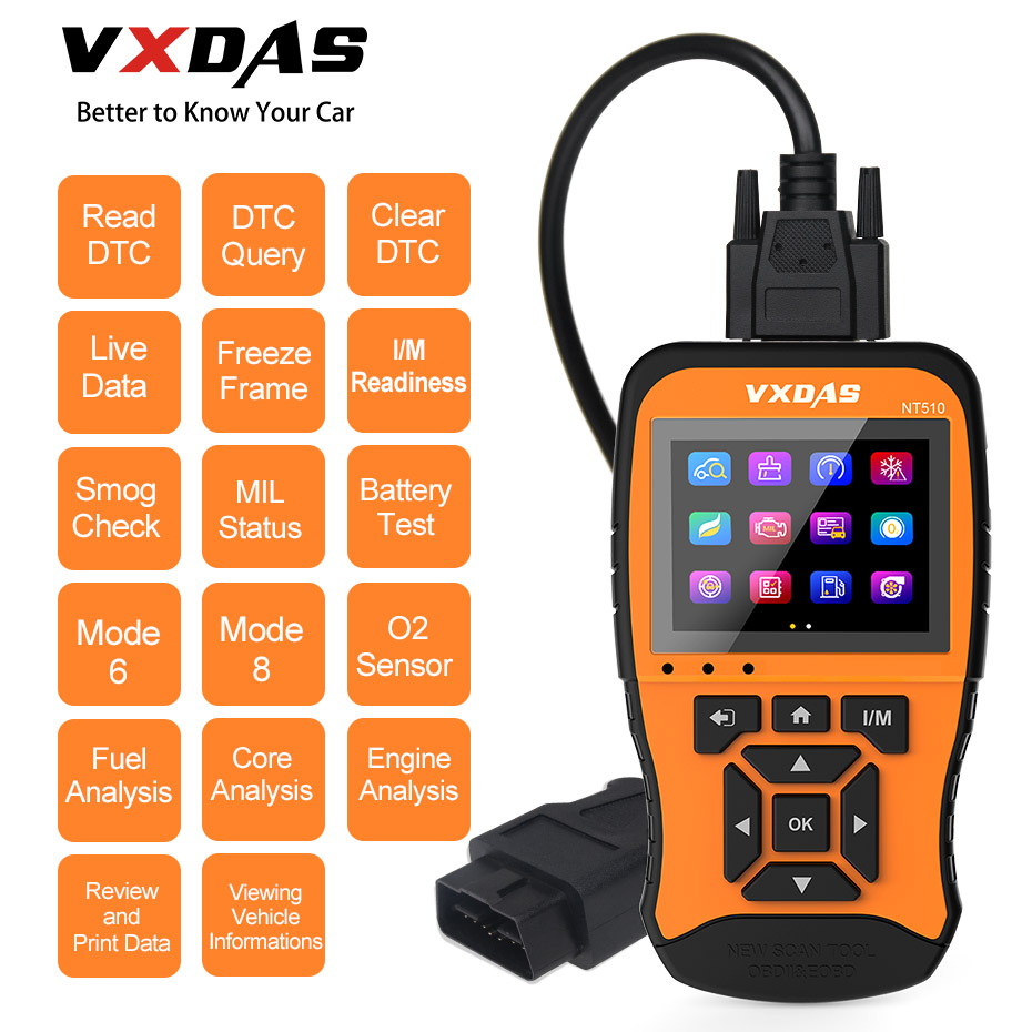 VXDAS Auto Car Diagnostic Tool Full System Full Model Coverage Coating Model Russian Upgraded Code ReaderOBD2 Scanner NT510 12V