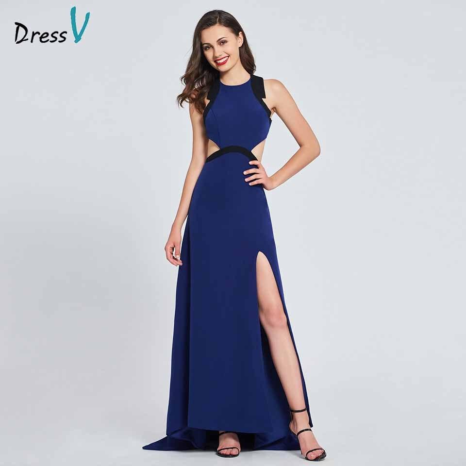 Dressv royal blue elegant high neck long   prom     dress   a line split backless floor length evening party gown   prom     dress   customize