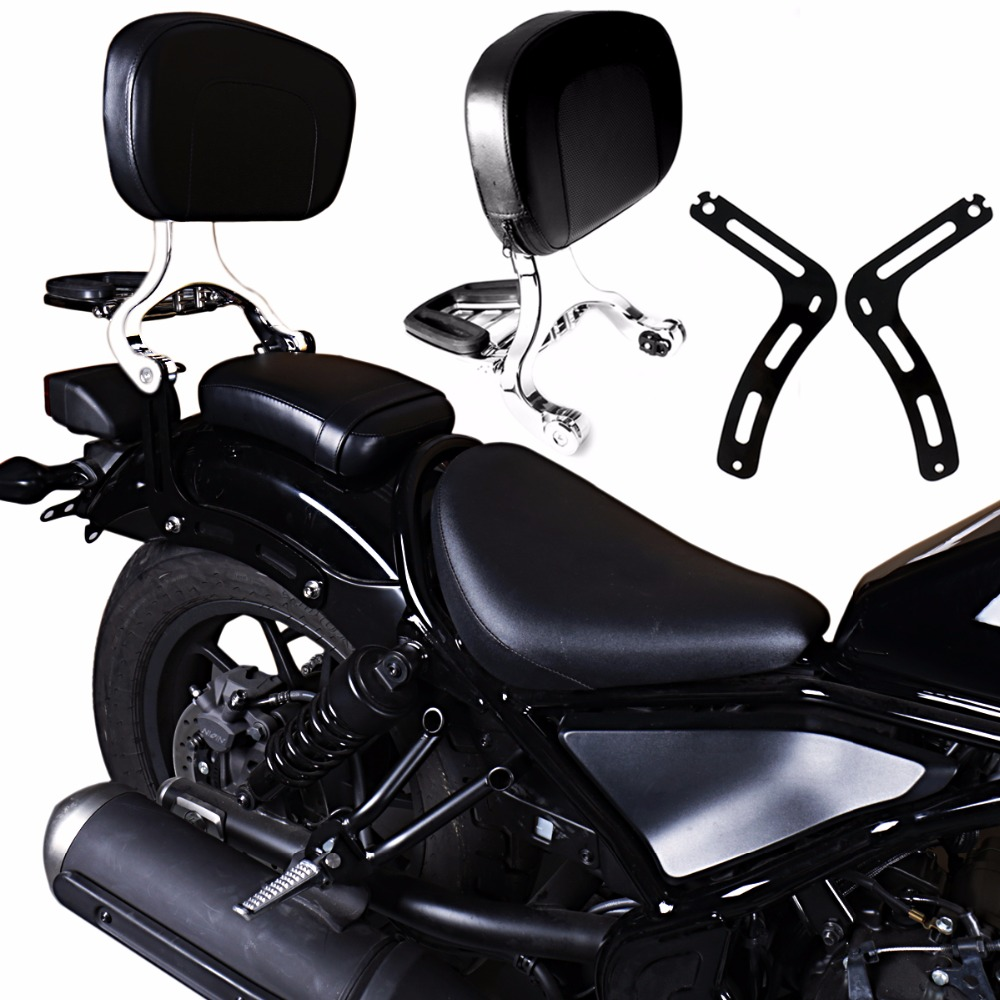 Black Fixed Mount&Chrome Driver Passenger Backrest For Honda 2017-2018 Rebel CMX 300 500 Models