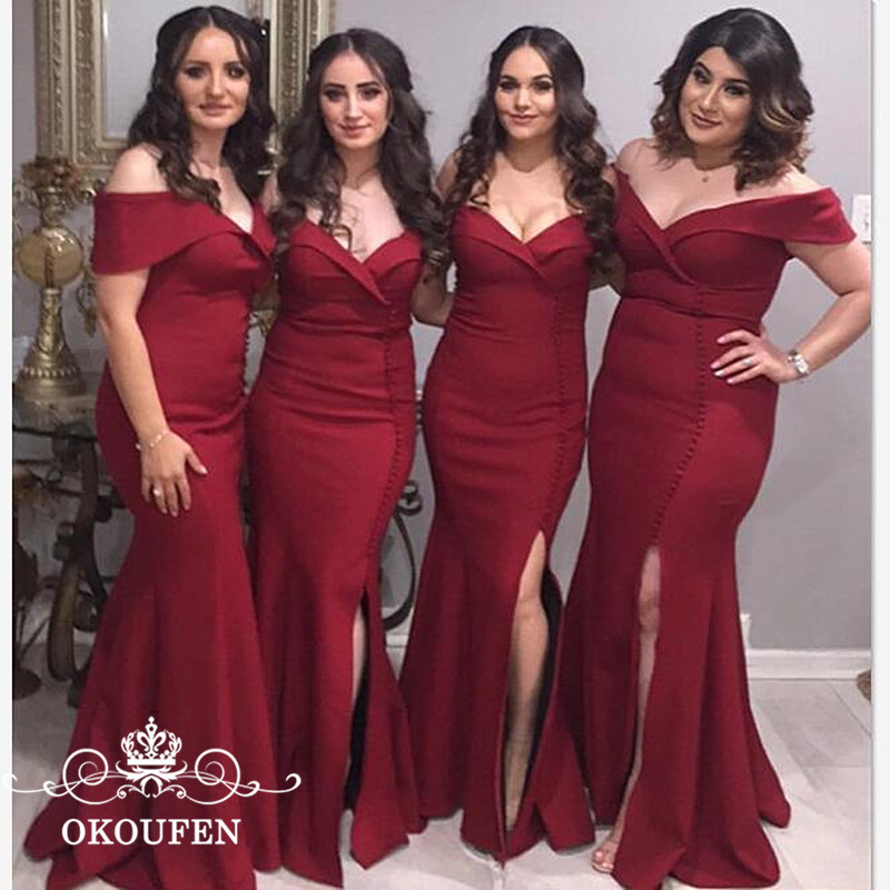 OKOUFEN Burgundy Satin Long Mermaid Bridesmaid Dresses 2018 Sexy Side Split Off Shoulder Maid Of Honor Dress Party For Women