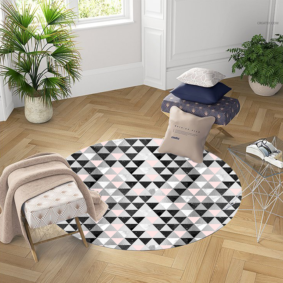 Else Geometric Pink Black Gray Nordec Triangle 3d Pattern Print Anti Slip Back Round Carpets Area Rug For Living Rooms Bathroom
