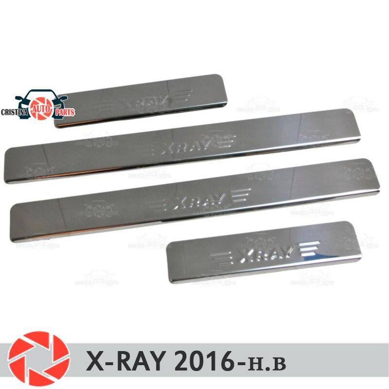 Pour Lada x-ray 2016-seuils de porte marchepied panneau protection voiture style décoration intérieur moulage porte panneau timbre