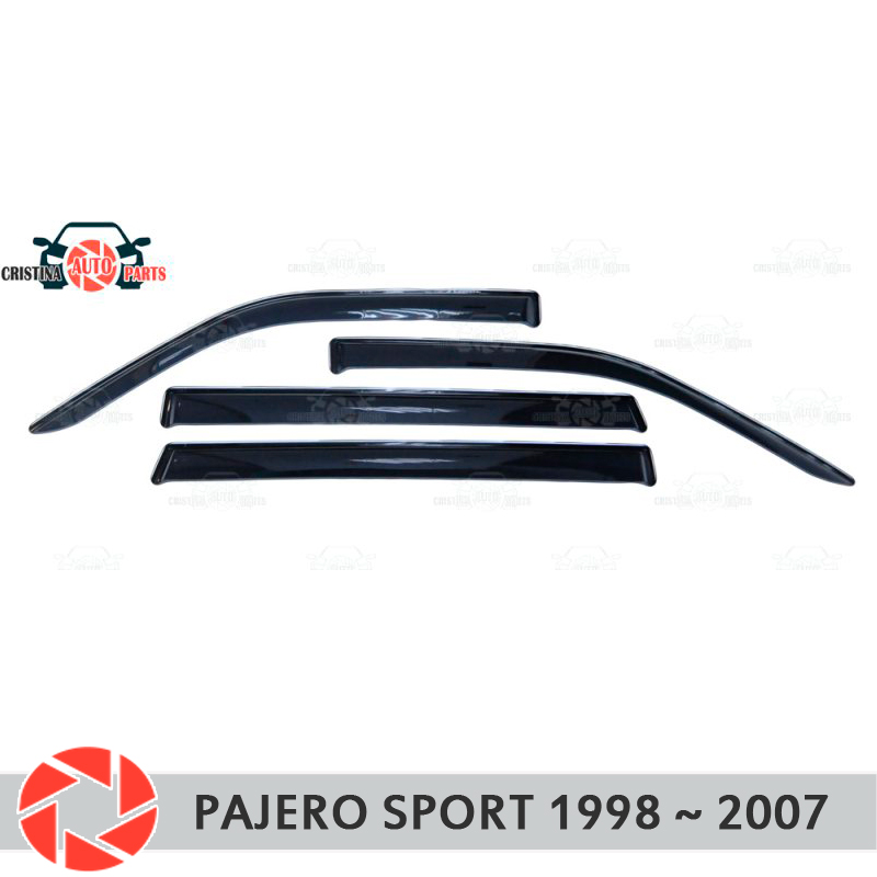 Window deflector for Mitsubishi Pajero Sport 1998-2007 rain deflector dirt protection car styling decoration accessories molding window deflector for mitsubisi pajero 2 1990 2004 rain deflector dirt protection car styling decoration accessories molding