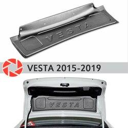 Tapicerka na pokrywa bagażnika dla Lada Vesta 2015 2019 akcesoria etui ochronne tylny dekor drzwiowy ochrona car styling w Chromowane wykończenia od Samochody i motocykle na