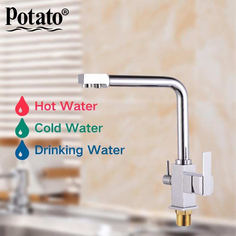 Potato New Kitchen sink Faucet mixer Design 360 Degree Rotation Water Purification tap Dual Handle p910