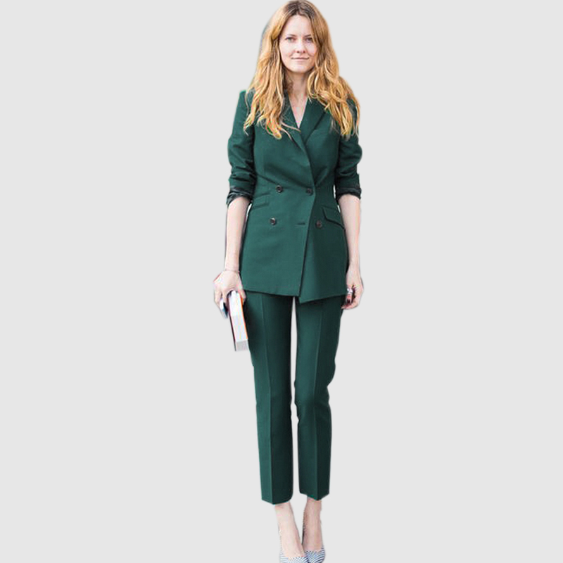 2018 Spring Autumn Fashion Business Lady Women Formal Pant Suits Long Blazer Ankle Length ...