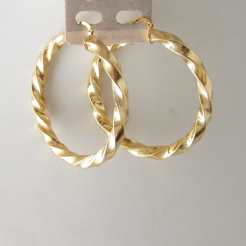 MIN ORDER 10$ /ONE PART PLAIN ONE SCRUB TWIST - YELLOW GOLD GP COLOR FOUR  SIZE HOOP 40MM 45MM 60MM 70MM EARRING BAND ABOUT 7 MM