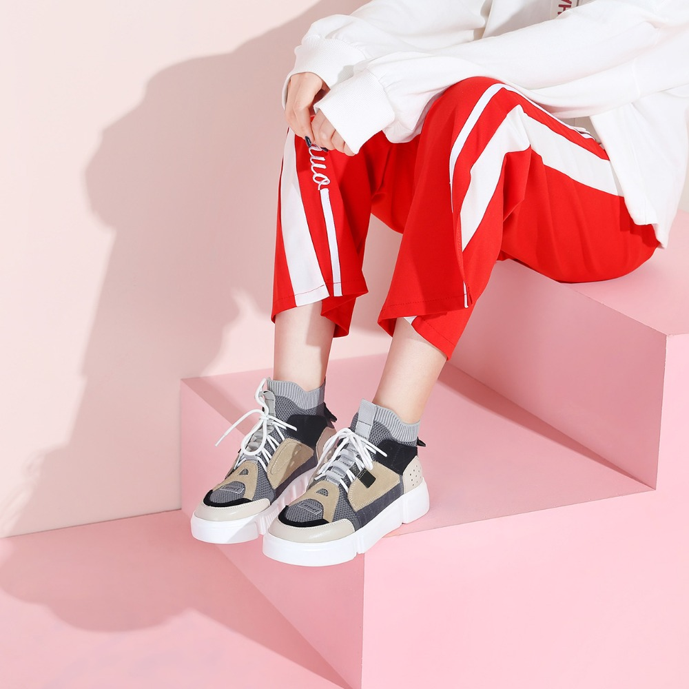 Zapatos de mujer CAMEL primavera planos coreanos deportes al aire libre calle moda Casual zapatos ins Retro costura 3 cm alto zapatos femeninos-in Zapatos vulcanizados de mujer from zapatos    3