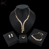 YULAILI New Coming Ladies Costume Accessories High Quality Necklace Bracelet Earrings Ring Jewelry Set