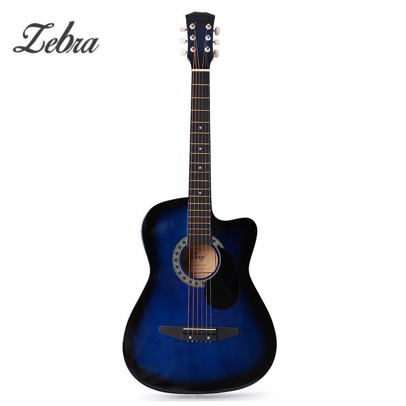 Zebra 6 Strings 38 Inch Folk Acoustic Electric Bass Guitar Guitarra Ukulele with Case font b