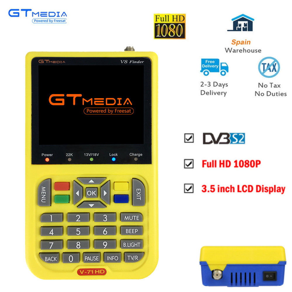 GTMEDIA/Freesat V8 Finder HD DVB-S2 Digital Satellite Finder High Definition Sat Finder DVB S2 Satellite Meter Satfinder 1080P digital satellite satfinder meter satellite finder lcd sat finder satellite signa