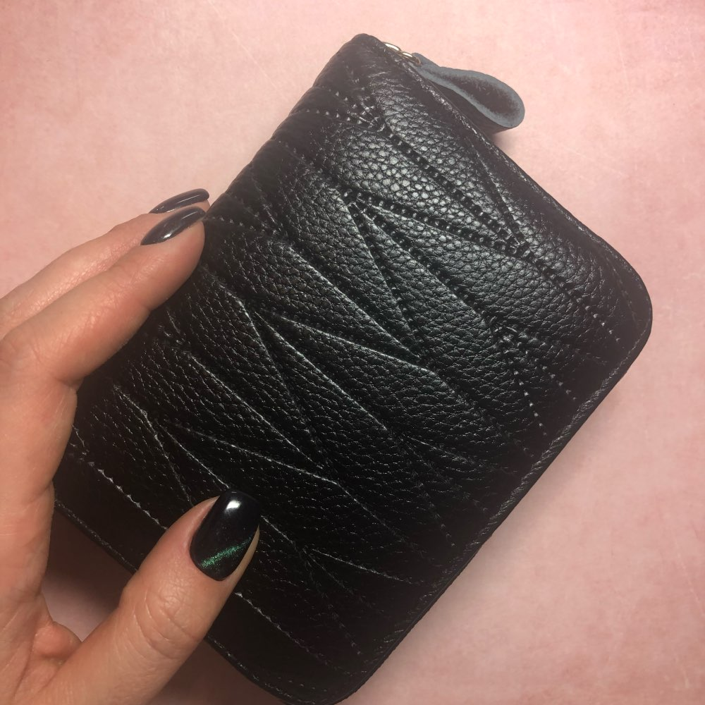 New Arrival Women Genuine Leather RFID Zipper Credit Card Holder Large Capacity Coin Purses Female Business Card Case Wallets photo review