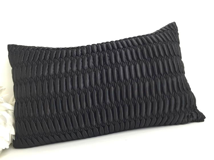50*30cm luxury black pebble-shaped pleated pillowcase sofa qulited waist pillow cover sofa cushion cover pillow case