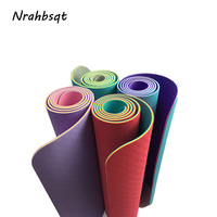NRAHBSQT New TPE Yoga Mat 6MM With Bag Stape Three Color Exercise Sports Mats For Fitness Gym Tasteless Pad Tapis De Yoga YM009