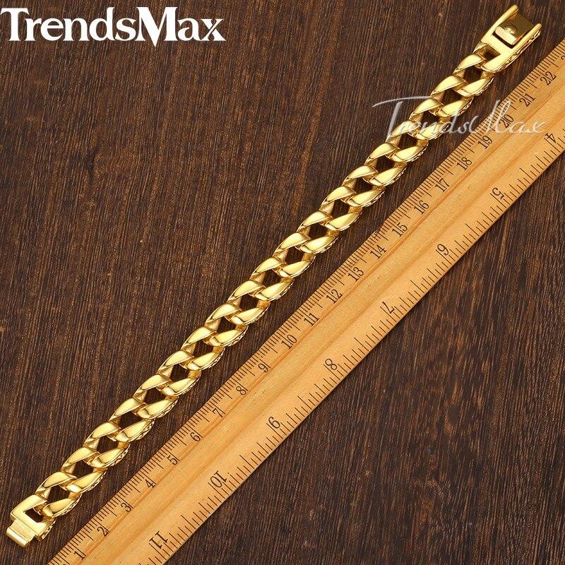 Trendsmax Fashion New Gold Rostfritt Stål Charm Armband Män Vintage - Märkessmycken - Foto 3