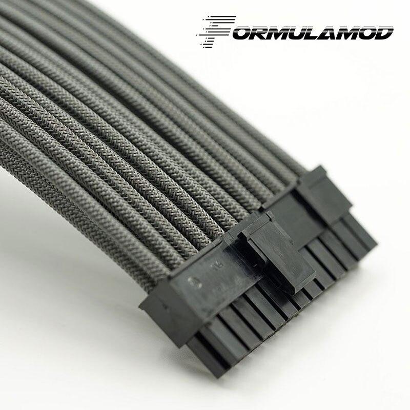 FormulaMod Fm-ATX24P-A, ATX 24Pin материнская плата удлинитель, 18AWG 24Pin многоцветные соответствующие кабели расширения - Цвет лезвия: Gray