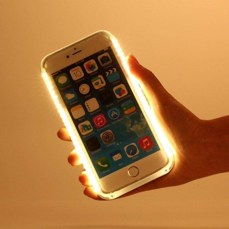 imágenes para Para el iphone 6 s Bolsa fundas capa Iluminado LED Light Up Autofoto Caso Duro de La Cubierta para el iphone 6 s 6-rosa