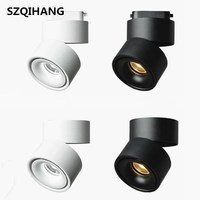 Led Dimmable 15W COB LED Track Light Surface Mounted Ceiling Spot light 360 degree Rotation Recessed Ceiling Downlight