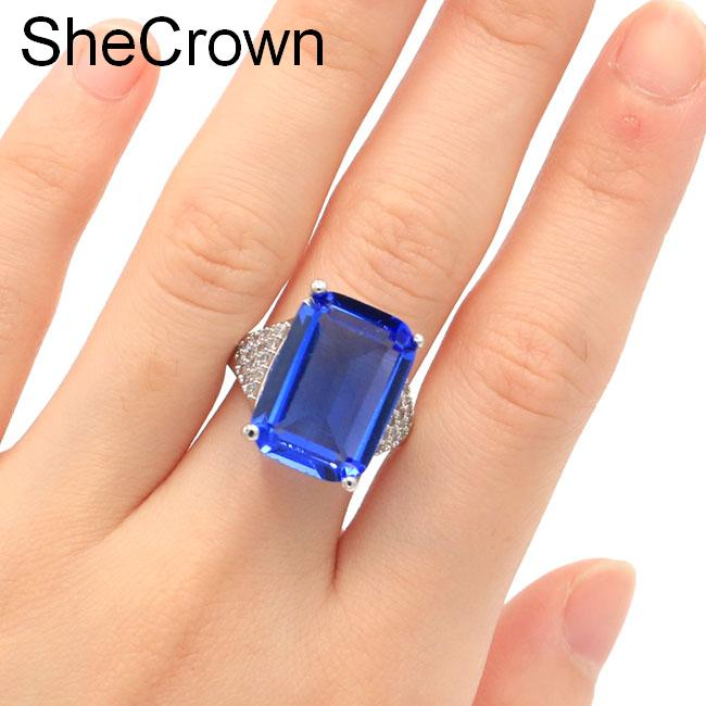 SheCrown 18x13mm Rectangle Rich Blue Violet Tanzanite CZ Gift For Girls Silver Rings 20x18mm(China)