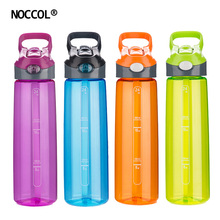 hot deal buy noccol eco friendly healthy water bottle high quality adults sports colored bpa free plastic straw type drinkware flask with lid