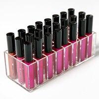 New Clear Acrylic 24 Grids Makeup Storage Box Organizer Lipstick Holder Nail Polish Rack Desktop Cosmetic
