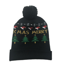 Funny Light Up Knitted Christmas Hat For Adult Cute Men And Women Meery Xmas Patterned Led