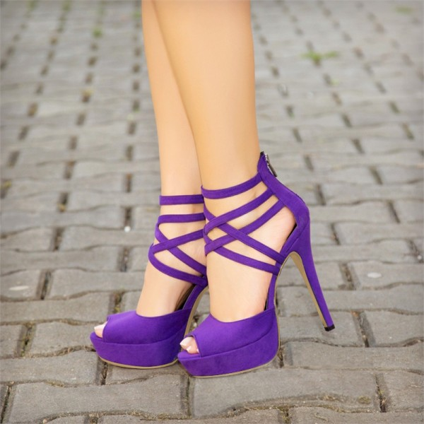 Women High Heels Sadnals Gladiator Purple Peep Toe Heels Suede Platform Strappy SandalsWomen High Heels Sadnals Gladiator Purple Peep Toe Heels Suede Platform Strappy Sandals