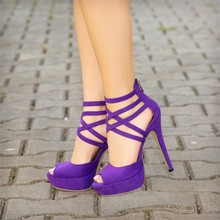 Women High Heels Sadnals Gladiator Purple Peep Toe Suede Platform Strappy Sandals