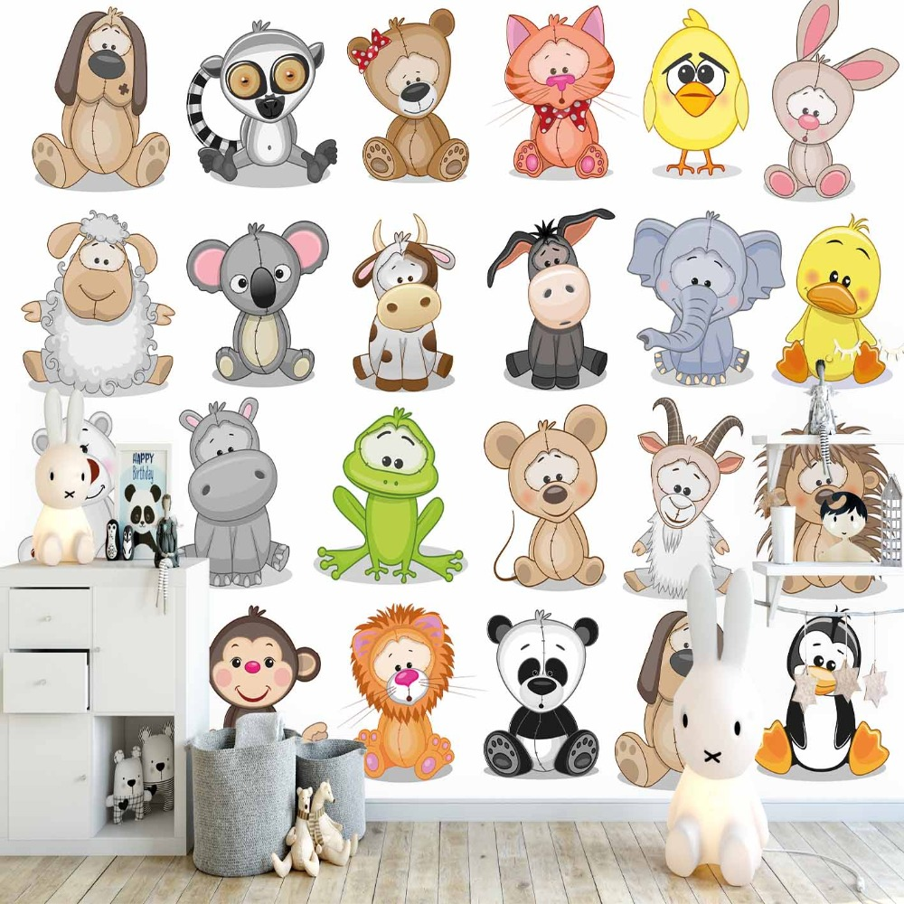 Else Educational Colored Funny Forest Animals 3d Print Cartoon Cleanable Fabric Mural Kids Children Room Background Wallpaper