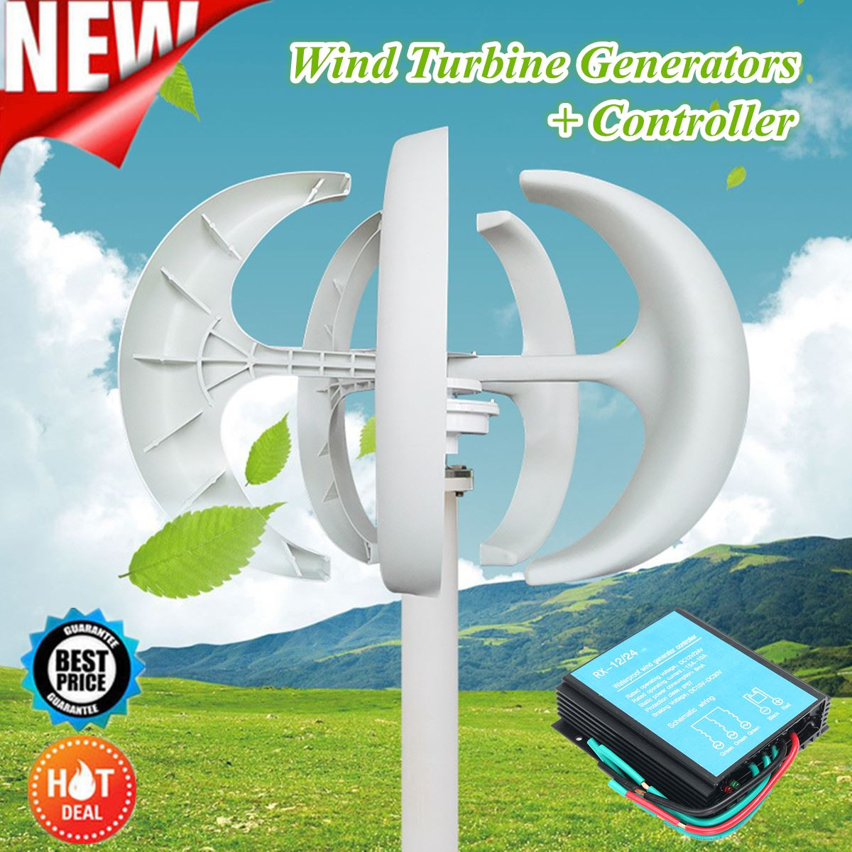 New Hot Sale 100-300W 12/24V Wind Generator Automatic Adjustable Latern Generator With Wind Controller For Home Power Supply muqgew 2017 new hot sale bg1510b 1 24