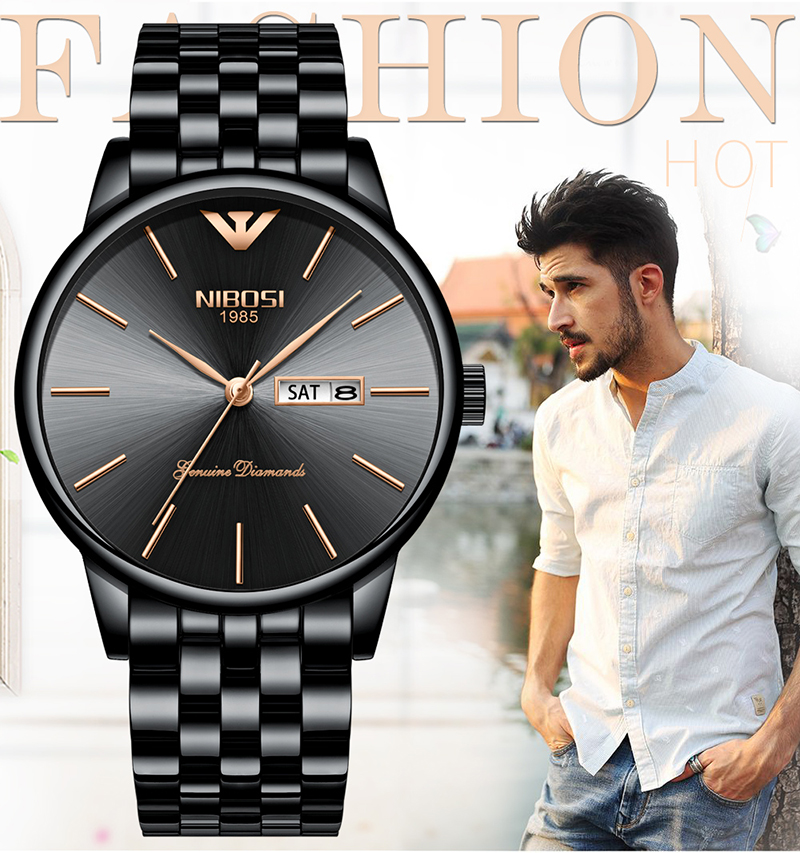 NIBOSI Relogio Masculino Mens Watches Top Brand Luxury Date Week Watch Men Waterproof Black Watch With Gold Montre Homme 2018    (1)