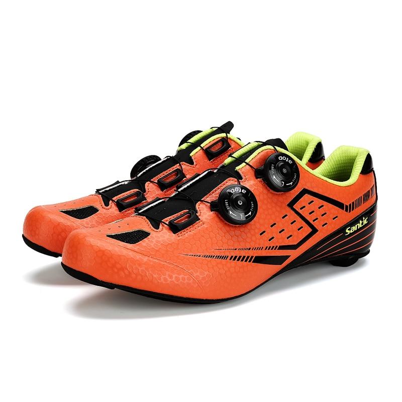 Laranja dos homens Santic Ciclismo de Estrada Sapatos De Carbono Única Luz Anular Sapatilha Ciclismo Zapatillas Eur Tamanho 39-45 450g S12021