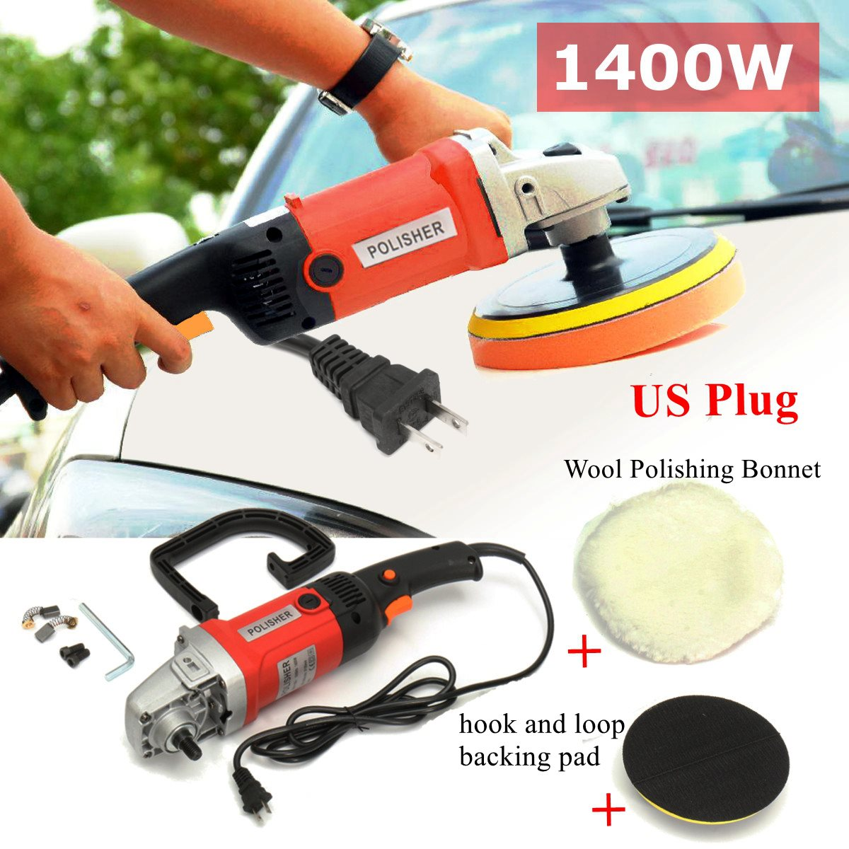 Heavy Duty 110V 1400W Polishing Waxing Machine Electric Polisher Power Sander Kit 180mm Hook Waxer for Car Boat ...