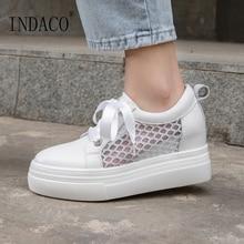 2019 Shoes Woman Leather Women White Platform Sneakers Designer Casual 7.5cm