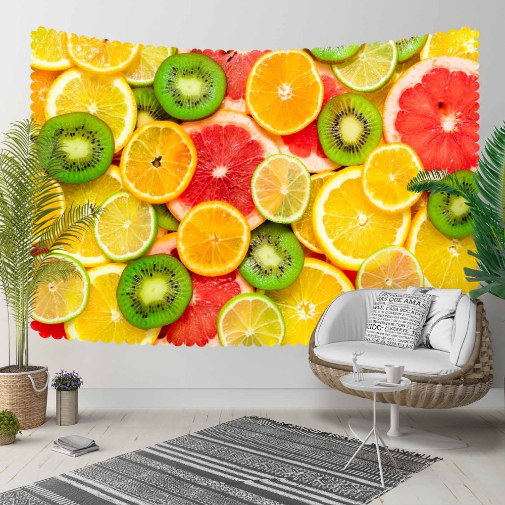 Else Yellow Green Red Slices Of Orange Kiwi Lemons 3D Print Decorative Hippi Bohemian Wall Hanging Landscape Tapestry Wall Art
