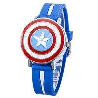 Marca Disney NO.MV-81040 vermelho azul relógios De quartzo de Borracha crianças para meninos estudantes dos desenhos animados Capitão América escudo à prova d' água