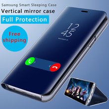 Smart Leather Flip Stand Mirror Case For Samsung Galaxy S8 S9 Plus S7 S6 Edge Note 8 Galaxy j5 j7 2017 EU Version Case 360 Cover(China)