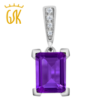 Women S 10K White Gold Octagon Purple Amethyst And Diamond Pendant With Chain