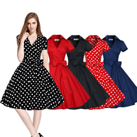 Women Vintage Style 50 S 60 S Swing Pinup Retro Evening Party Housewife Dress