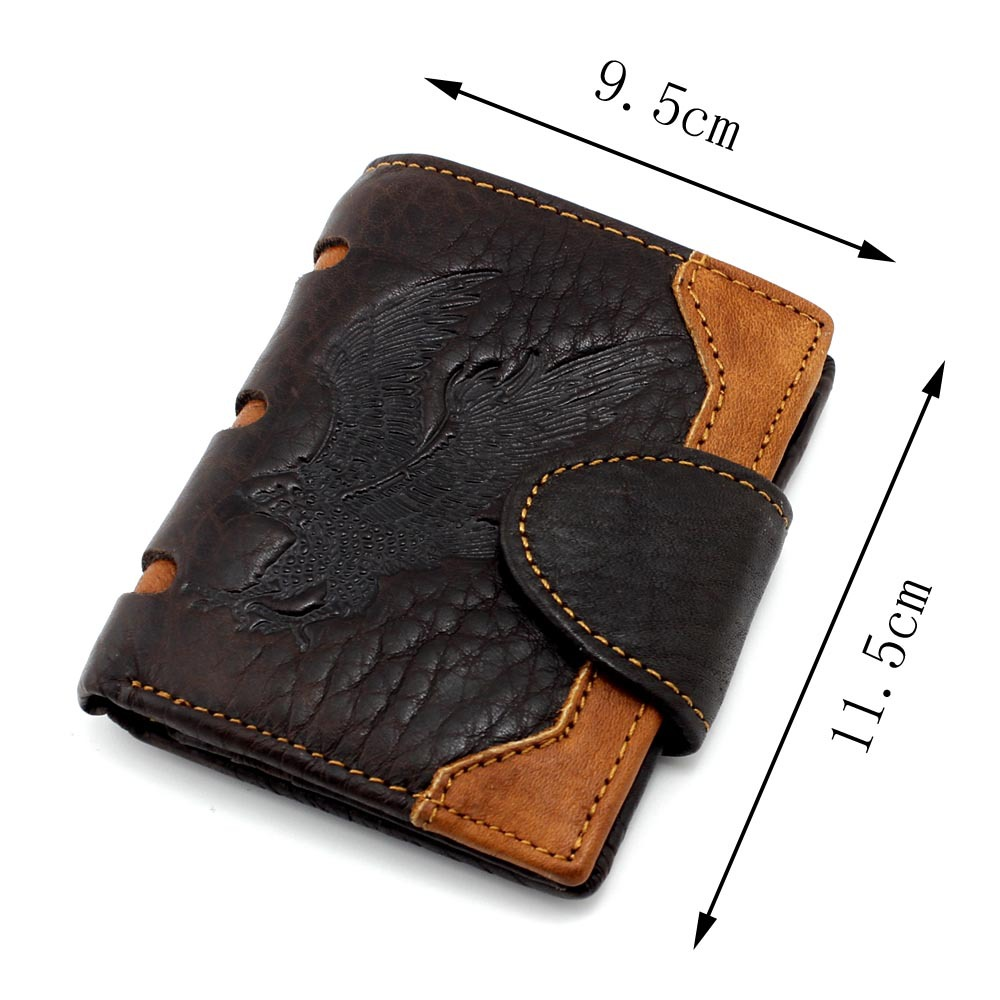 Top Quality New Arrival Genuine Leather Wallet Eagle&Dragon Totem Men Wallets Luxury Dollar Price Vintage Male Purse Coin Bag hot sale vintage wallets men brand design money bag genuine leather wallet clutch dollar price classic male coin purse for phone