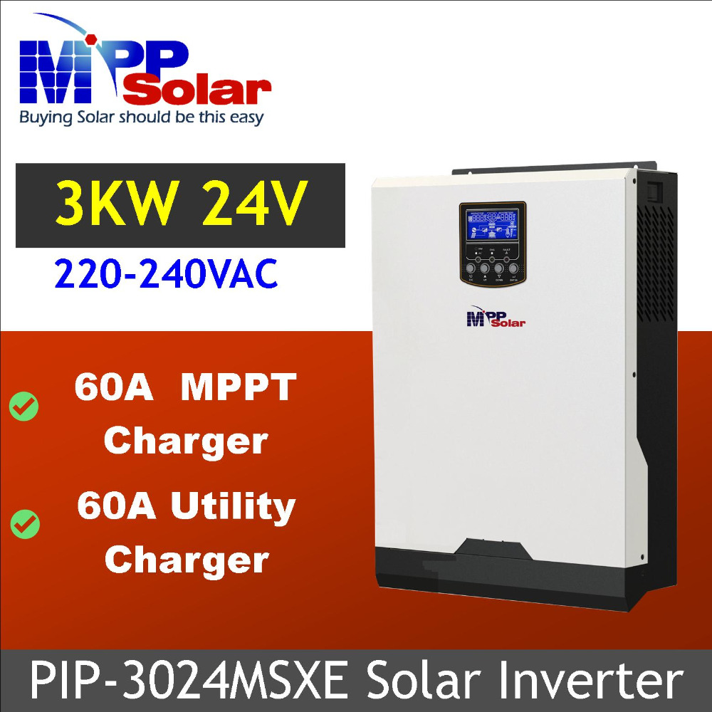 MSXE 3KVA 3000W 24Vdc 230Vac Solar inverter with MPPT solar charger 60A battery charger 60A